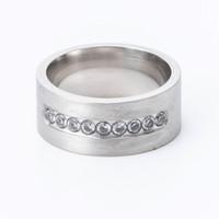 Кольцо из нержавеющей стали европейские и американские новая мода микро-инкрустированного циркон 9 алмазов матовых мужчин и женщин колец ювелирных изделий