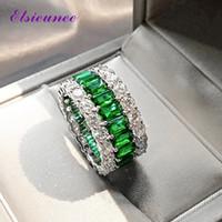 Elsieunee 100% 925 Sterling Argent créé Moissanite Emerald Gemstone Bague pour femme anniversaire Cocktail Party Bijoux fins