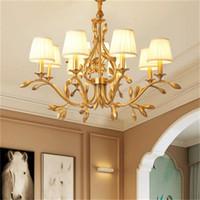 Luster cobre Folha Led Lustres Iluminação Sala Tecido Shades Led Lustres Lâmpada Sala de jantar luzes penduradas Luminárias