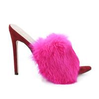 اللباس أحذية الصنادل محطة بلون حلوى الأرنب الفراء الفاخرة الصنادل ذات الكعب العالي النعال بالاضافة الى حجم المرأة اللباس أحذية 41-43 الشحن المجاني