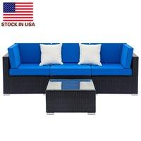 Custom Gartenstuhl Sets Voll ausgestattetes Weberei Rattan Set mit 2 stücke Ecke 1 stücke Einzelne Sofas 1 Stück Couchtisch