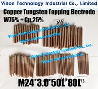 (5PCS ПАК) М24 * 3,0 * 50L * 80Lmm CUW75 Медь вольфрама Орбитальный Выявляющий Электрод для EDM искры, EDM W75 вольфрама медной нити электрод М24