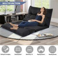 Multifonction souple canapé-lit pliant réglable Futon jeu vidéo Sofa Lounge Sofa avec deux oreillers (noir) chaud vente WF015436BAA 2020
