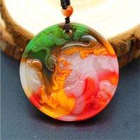 Couleur Jade Pendentif dragon chinois Collier Sculpté charme naturel jadéite Amulet Accessoires Mode Bijoux pour Cadeaux Hommes Femmes
