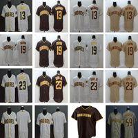 2020 새로운 시즌 야구 13 매니 Machado 유니폼 스티치 19 Tony Gwynn 23 Fernando Tatis JR 59 Chris Paddack Gold White Brown Jerseys
