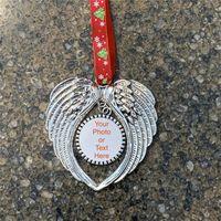 Рождественские украшения украшения DIY Крылья ангела Форма Blank добавить свои собственные изображения и фона Рождество Подвесной Charms F92401