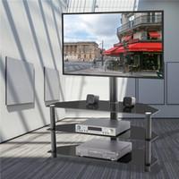 Abbondanza di magazzino, Black Multi-Function TV Stand TV Altezza Staffa regolabile girevole 3-livello Home Soggiorno Mobili W24105047