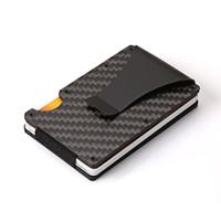 Kohlefaser RFID Männer Trifold Mini Brieftaschen Schlank Kleine dünne minimale intelligente männliche Brieftasche Taschenkarte Geldbörsen Geld Tasche Brieftasche