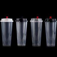 를 700ml / 24온스 콜드 핫 뚜껑 SN1337과 주스 컵 커피 밀키 차 컵 두꺼워 일회용 투명 플라스틱 음료 컵 음료