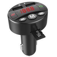 FM 변조기 자동차 MP3 플레이어 블루투스 FM 송신기 핸즈프리 자동차 키트 음악 플레이어 5V 2.1A 듀얼 USB 지원 TF 카드 USB 디스크