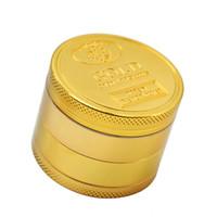 GOLD Schleifer-Münzen-Muster Zink-Legierung Metall Herb 4 Teile Schichten 50MM Zigarettentabak Spice Crusher Rauchen Miller Pollen DHL