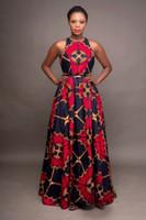 Tamaño de la manera de las señoras de la ropa africana de cuello redondo de Dashiki Maxi vestido sin mangas Plus 2020 vestidos africanos para las mujeres del traje Africaine