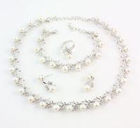 Imitatie Wit Natuurlijke Parel Sieraden Sets Strass Bal Ketting Oorbellen Armband Ring Bruiloft Sieraden Sets