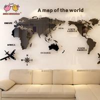 3D كبيرة خريطة العالم مرآة ملصقات الحائط الاكريليك ملصقا ديكور المنزل لمكتب غرفة المعيشة خلفية التلفزيون ملصقا الجدار الديكور