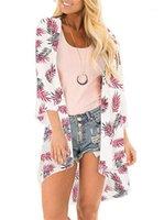 Mousseline de soie crème solaire Floar imprimé à manches longues Cap Femmes Mode en vrac Manteau Prevent Bask Vêtements Femmes Summer Beach
