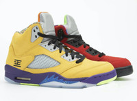2020 New 5 What The Yellow And Red Basketball Shoes Men 5s o que o tênis esportivo com Box