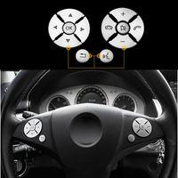 Interior del coche interruptor de botón del volante de ajuste Pegatina Cubierta para Mercedes Benz Clase S C E W204 W212 W221 X204 GLK C200 C250 Accesorios
