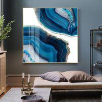 Pinturas Moderno Abstracto Azul Marmol Tendencia Lienzo Pintura Pósteres Pósteres Impresiones Arte de la pared Imágenes para la sala de estar Oficina Decoración de la casa Sin marco