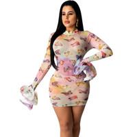Borboleta Impresso Sheer malha com cordão Mini vestido para mulheres magras Bodycon Partido tamanho Transparente Sexy Clube Outfits Noite Clubwear Além disso,