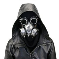 Steampunk Metallic Gas Maschera Gas con Goggles Retro Cosplay Creepy Death Mask Casco per costume di Halloween JK2009XB