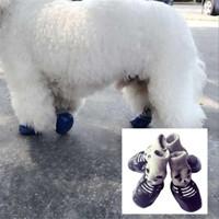 4 pçs / lote de algodão borracha de cachorro sapatos à prova d 'água não-deslizamento cão chuva neve botas de neve sapatos para cachorrinho gatos pequenos cães