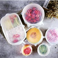 Reusable Elastic Food Storage Cover 6 Pcs Set Silicone Seal Cover Food Grade Suction Pot Fruit Fresh Keeping Wrap Seal Lid TQQ BH2393