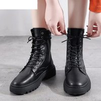 2020 Fashion Women Leather Motorcycle Boots Women Winter Rou...