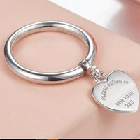 New Logo Stamp real 925sterling silver love heart pendant Rings Tiff for Women Wedding Jewelry anillos Female round band t design rings gift