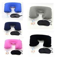Venta al por mayor 3 en forma de U 1 Set Viaje inflable del amortiguador de la almohadilla del cuello del aire + Sleeping Eye Mask visera + tapones para los oídos del coche de la almohadilla suave BH0660 BC