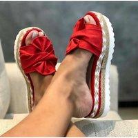 Женские тапочки лук плоские платформы дамы слайды открытый флип флопс пляжная обувь женщина тапочки летние сандалии женские 2020