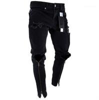 Represen lápiz de los pantalones para hombre de la cremallera de los pantalones vaqueros agujeros Diseñador Negro rasgado Slim Fit