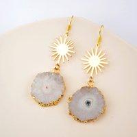 Weiß Solar-Quarz-Ohrringe Handgemachte natürliche Kristall baumeln Ohrringe Natürliche Sonnenblume Frauen-Ohrring Gold Metal Scheibe Ohrringe 200923