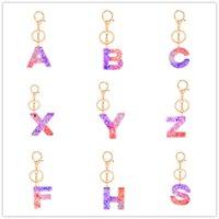 Сдержанные 26 букв Acrylic Bearchain A to z Клейкие цепчики ключей Модный ключ Кольцо подвесной мешок Блеск подвеска ключ держатель аксессуары E92101
