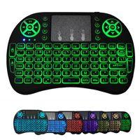 Mini I8 Wireless Tastiera wireless Retroilluminazione retroilluminato 2.4G Tastiera del mouse Air Telecomando Touchpad Batteria al litio ricaricabile per e