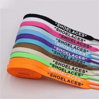 "17 cores laço ""LAÇOS"" Letter Fonte 8 milímetros lados dobro impressa em preto laço branco assinado Flat Shoes Lacet cadarço Joint 120 140 160 centímetros"