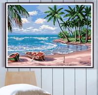 peinture bricolage par des kits de numéros avec cadre pour adultes huile de plage images Seascape par des numéros de jeu de peinture acrylique Parée