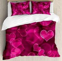 Hot Pink duvet cover set dulce linda formas de corazón en el fondo borroso de la romántica Día del lecho de rosa magenta caliente de tarjeta del día