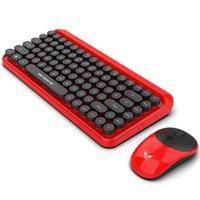 Teclado sem fio Bluetooth mouse Kit bonito Steampunk 2.4G Wireless Mouse 1600dpi Posição retro colorido teclado de 84 teclas redondas