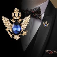 Pins, spille I-Remiel Retro Rhinestone in lega di zinco in lega di spilla a nappa per le donne Crown Angel Pins e camicia Accessori colletto