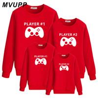 عائلة نظرة الأم فساتين ابنة لاعب طباعة Sweatershirts الأم والأب عني الابن الكبير ليتل الأخوات قمصان الأخ كاملة 6044