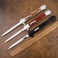 새로운 13 인치 이탈리아 마피아 440C 싱글 엣지 알루미늄 합금 머리 + 나무 손잡이 사냥 자기 방어 전술 자동 칼