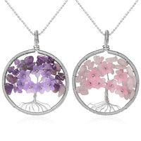 Tree of Life kolye kolye Doğal Taş Gümüş Renk Tel Wrap Kuvars Kristal Chip Boncuk Çiçek Reiki Takı Kadınlar