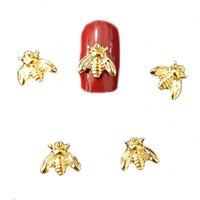 50個/バッグの素敵な蜂ネイルチャームメタル3Dネイルアート装飾ゴールデンビンテージシルバーDIYネイルアクセサリーステッカービッグマニキュア