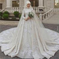 Sposa modesto musulmani Abiti collo alto in pizzo paillettes perline maniche lunghe Paese abito da sposa con velo su ordine Abiti da sposa
