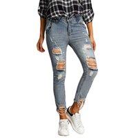 Kadın Jeans delik kot kadın pantolon kız Orta bel rahat pantolon kadın için kot bağbozumu düz kot Soğuk yırtık
