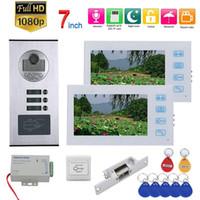 7inch Enregistrement vidéo Intercom 2/3 / 6Apartments vidéophone Système RFID 1080P Sonnette Caméra + NO gâche électrique de verrouillage de porte