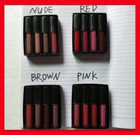 유명한 액체 립스틱 세트 레드 누드 브라운 핑크 에디션 뷰티 미니 액체 매트 립스틱 4 개 / 세트 (4 × 1.9ml)