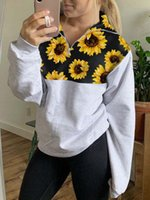 Winter new style long sleeve sunflower women sweatshirt loos...