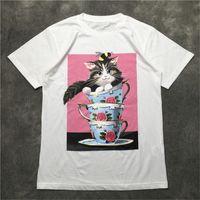 Street Fashion Mens T Shirt 2020 Cat olio tazza da tè pittura Maglie a manica corta Polo Uomini Donne di alta qualità di stile di Hip Hop pullover Tee