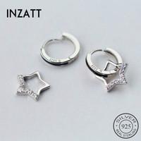 INZATT réel Argent 925 mignon Zircon étoile Boucles d'oreilles pour les femmes fête d'anniversaire de bijoux accessoires Beaux-romantique 200924
